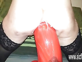 Insane colossal anal dildo fucking destruction