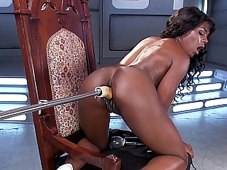 Slutty black babe extreme machine pussy sexual relations