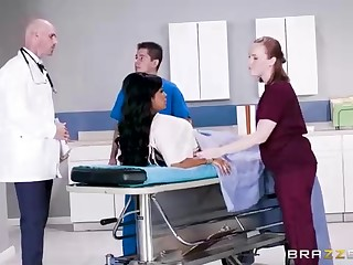 Buxom dark-hued woman with a adorable tat, Mary Jean is taking her doctor's mammoth man-meat, in his office