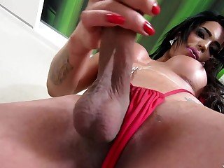 Monster cock shemale Ryla stripteasing seductively