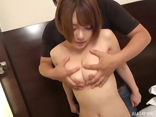Hardcore blowjob with an increment of doggy style sex for Asian MILF Aise Kurara