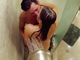 Horny Matt and Mandy take a crack at pre party sex in the shower