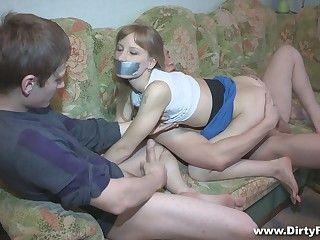Pallid gal Sonja gets blindfolded and fucked doggy really hard by BF's buddy