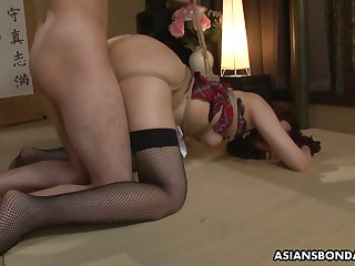 Plighted Japanese chick Sayumi Matsushita gets their way holes fucked