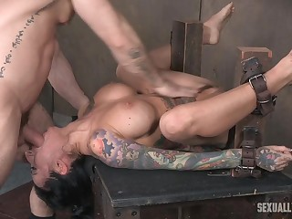 Lily Lane gets her shaved pussy all wringing wet space fully being abused with toys