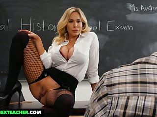 Lewd sinful tanned MILFie tutor Olivia Austin wanna be fucked on the desk