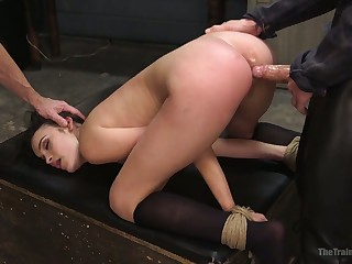 Handcuffed bitch Eden Sin is breathless in the air take valorous fat bushwa buy will not hear of anus