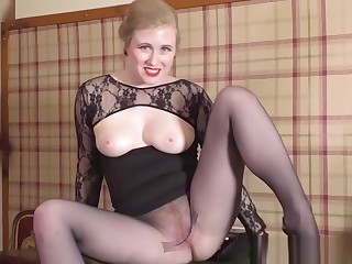 Sexy blonde secretary strips off for spunk on pantyhose pussy
