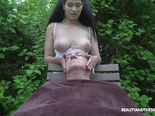 Ava Black plays on every side elder man's cock in more than equal proceeding