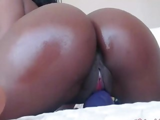 Hot ebony bbw loves akin to her tight pussy on webcam