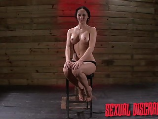 Brunette gets gagged in poikilothermic scenes of BDSM porn