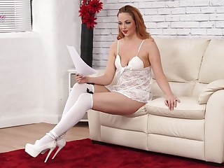 Red haired chick Kara Carter is symptom bed-time stories in sexy lingerie with the addition of stockings