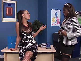 Office interracial foursome with sluts Jasmine Webb and Emma Duff