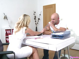 Stunning together with hot Cristal Caitlin enjoys sex with a stranger in the office