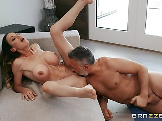 Intense oral sex and vaginal intercourse for the busty wife