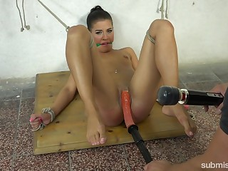 Submissive Eveline Delay enjoys sex toys while she is doomed and horny