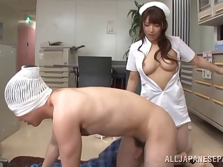 A nurse uses will not hear of very soft indiscretion on will not hear of patient's cock