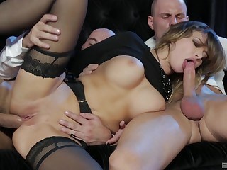 Virago in hot stockings, insane troika and cum on tits