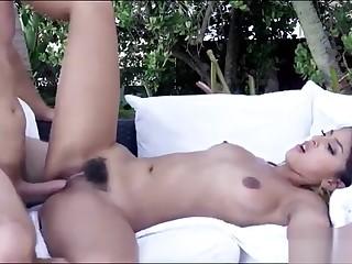 Stiffish babe fucked and jizzed outdoors