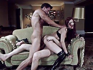 Dispirited BDSM fantasy for be transferred to young redhead with two dominant men