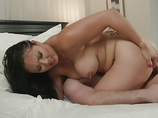 Busty Asian mom lands entire step son's cock into the brush cunt