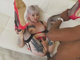 BBC fucks anal hole of titillating tattooed transgender Lena Kelly