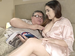 An ancient man discovers the joy of having sex almost his curvy stepdaughter