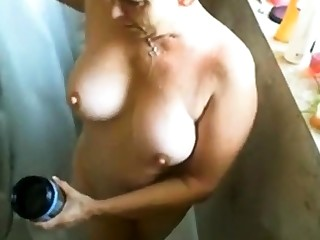 Jerk deny the privileges of busty matured woman while she showers!