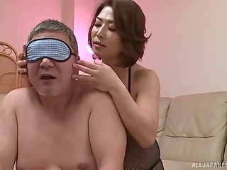 Gorgeous Japanese wife surprises her man with insane going to bed