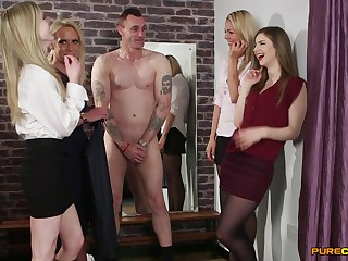 Inferior video of dick sucking and tugging by Bianka Brill and friends