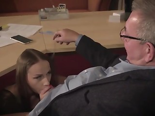 Amazing unlighted with glasses is having a ffm threesome at work and enjoying it a lot