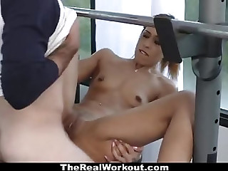 Admirable young mademoiselle performing in handjob XXX video