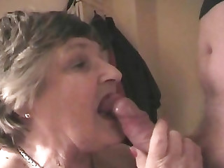 Chubby granny slurping a dick and having her cunt smashed